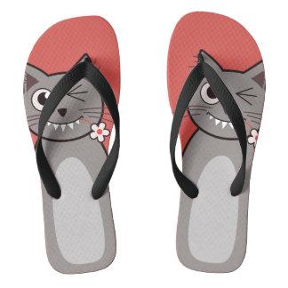Funny Winking Cartoon Kitty Cat Flip Flops