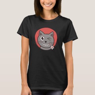 Funny Winking Cartoon Kitty Cat T-Shirt