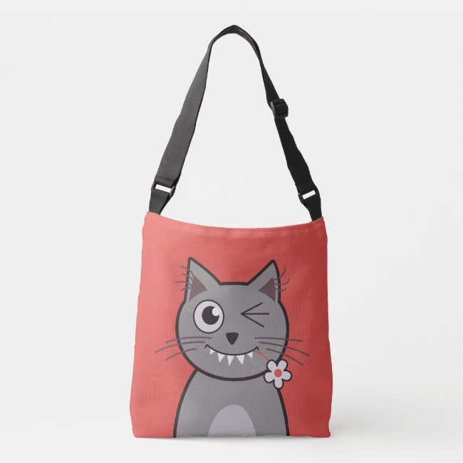 Cute cross-body bag with a winking kitty illustration