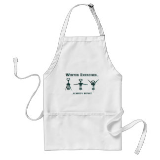 Funny Winter Exercises Adult Apron