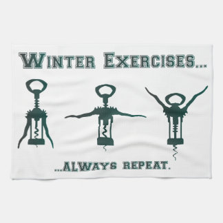 Funny Winter Exercises Hand Towels