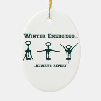 Funny Winter Exercises Ornament