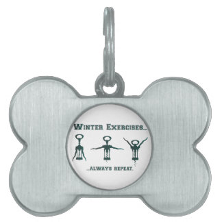 Funny Winter Exercises Pet Name Tag