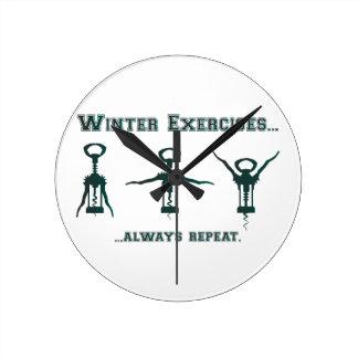 Funny Winter Exercises Round Clock