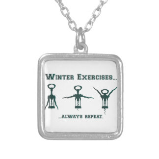 Funny Winter Exercises Silver Plated Necklace