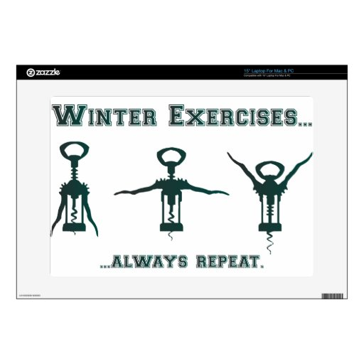"""Funny Winter Exercises 15"""" Laptop Skins"""