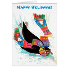 Funny Winter Holiday Penguin Christmas Card at Zazzle