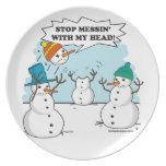 Funny Winter Snowmen Cartoon Dinner Plate