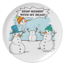 Funny Winter Snowmen Cartoon Dinner Plate