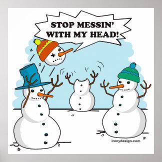 Funny Winter Snowmen Cartoon Poster