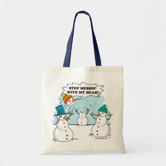 Funny Winter Snowmen Cartoon Tote Bag