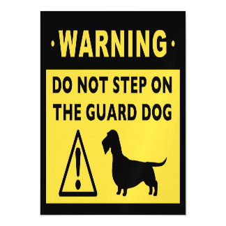 Funny Wire Haired Dachshund Guard Dog Warning Magnetic Card