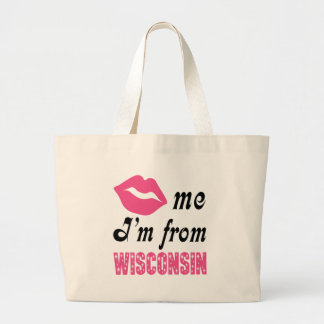 Funny Wisconsin Large Tote Bag