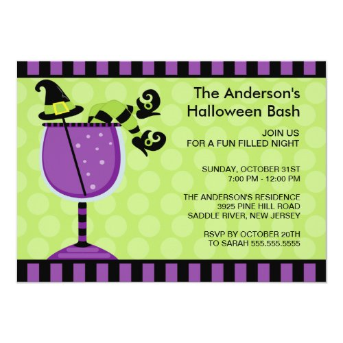 Funny Witch Cocktail Halloween Party Invitation
