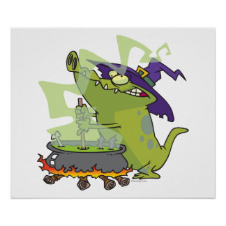 funny witch gator cooking cauldron posters