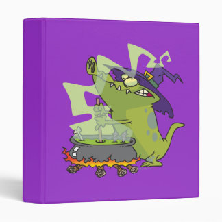 funny witch gator cooking cauldron vinyl binder