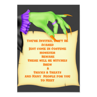 FUNNY WITCH HAND HALLOWEEN INVITATIONS