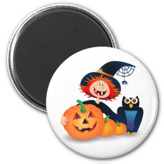 Funny witch with owl and pumpkins, magnet