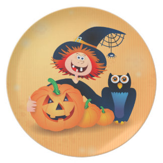 Funny witch with owl and pumpkins, plate