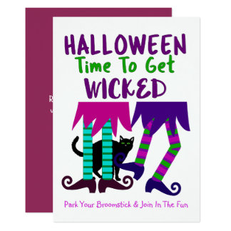 Funny Witches Halloween Editable Cute Fun Party Card