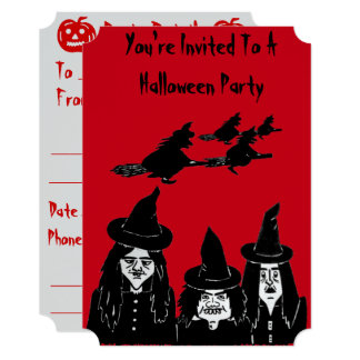funny witches spooky and scary halloween party card