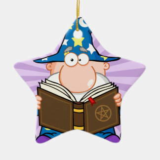 Funny Wizard Holding A Magic Book Ceramic Ornament