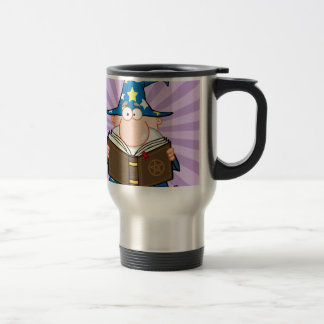 Funny Wizard Holding A Magic Book Travel Mug