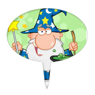 Funny Wizard Waving With Magic Wand And Preparing Cake Topper