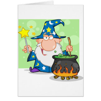 Funny Wizard Waving With Magic Wand And Preparing Card