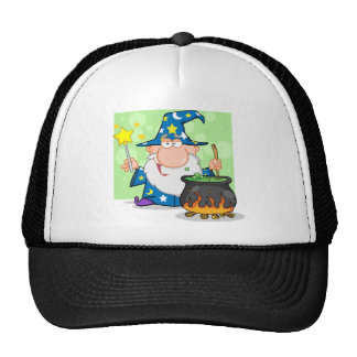 Funny Wizard Waving With Magic Wand And Preparing Trucker Hat