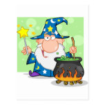Funny Wizard Waving With Magic Wand And Preparing Postcard