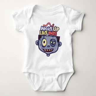 Funny Woke Up Like This Zombie Sleepy Halloween Baby Bodysuit