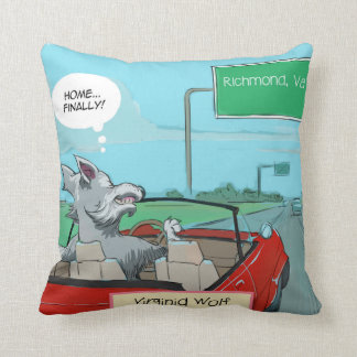 Funny Wolf From Virginia Throw Pillow