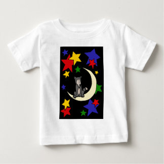 Funny Wolf Sitting on Moon Art Baby T-Shirt