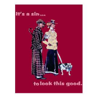 funny woman man dog bulldog vintage postcard