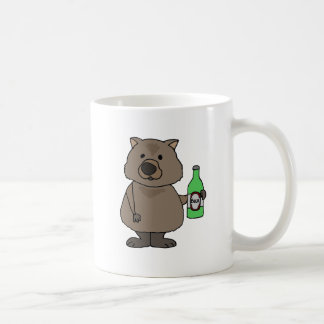 Funny Wombat Drinking Bottle of Beer Cartoon Coffee Mug