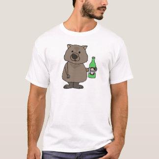Funny Wombat Drinking Bottle of Beer Cartoon T-Shirt