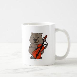 Funny Wombat Playing Cello Cartoon Coffee Mug