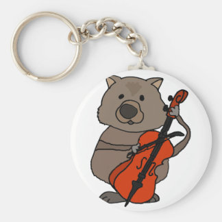 Funny Wombat Playing Cello Cartoon Keychain