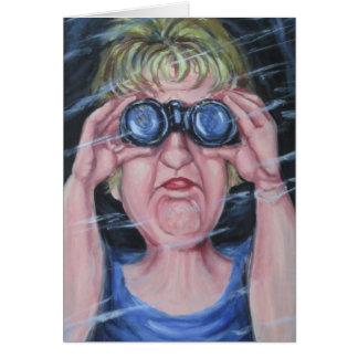 Funny Women With Binoculars Greeting Card