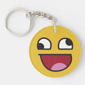 Funny Wonky Eyed Whatever emoji Keychain
