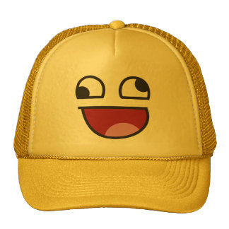 Funny Wonky Eyed Whatever emoji Trucker Hat