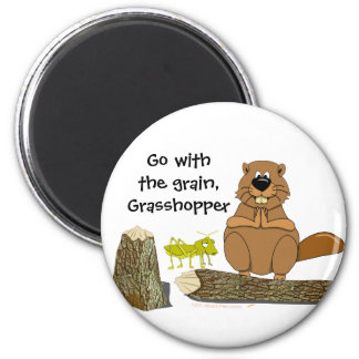 Funny Wood Turning Beaver and Grasshopper Cartoon 2 Inch Round Magnet
