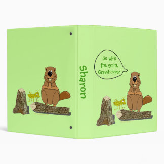 Funny Wood Turning Beaver and Grasshopper Cartoon 3 Ring Binder