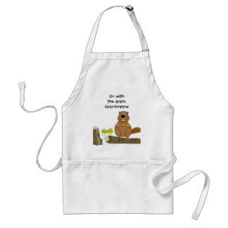 Funny Wood Turning Beaver and Grasshopper Cartoon Adult Apron