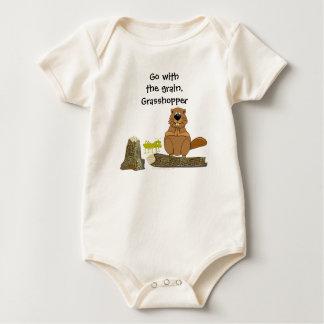 Funny Wood Turning Beaver and Grasshopper Cartoon Baby Bodysuit