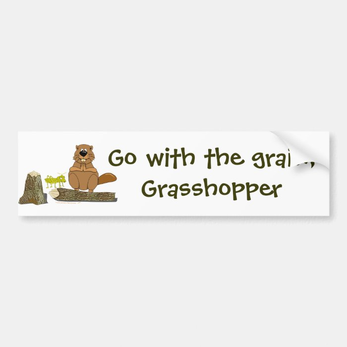 Funny Wood Turning Beaver and Grasshopper Cartoon Bumper Sticker