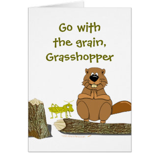 Funny Wood Turning Beaver and Grasshopper Cartoon Card