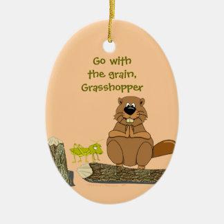 Funny Wood Turning Beaver and Grasshopper Cartoon Ceramic Ornament