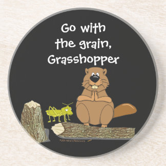 Funny Wood Turning Beaver and Grasshopper Cartoon Drink Coaster